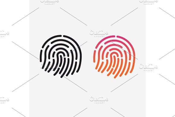 ID App Icon Vector Set Fingerprint For Identification Flat Line Illustration