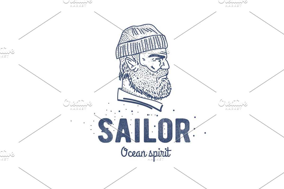 Old Sailor Logo Or Label Seaman With A Beard Hand Drawn