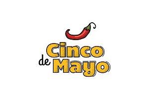 Cinco De Mayo logo. Hand drawn.