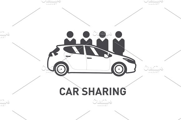 Car Sharing Group Of People Behind Car Flat Design Line Icon
