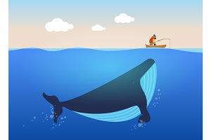 Vector illustration of fisherman and huge whale under water. Creative poster concept.