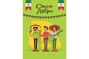 Cinco De Mayo poster design. Mexicans characters set. Vector template with copy space for your holiday celebration at a bar, restaurant.