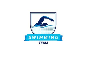 Vector swimming team logo. Swimmer silhouette in water. Creative badge. Triathlon concept. Flat design.