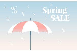 Spring sale colorful vector banner. Vector umbrella. Modern gradient background.