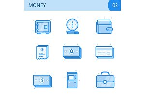 Flat line money icon set. Safe, card, cash, wallet. receipt and atm illustration. Vector financial collection.