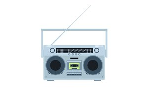 Magnetic tape cassette player. Vintage radio. Front view. Flat illustration.