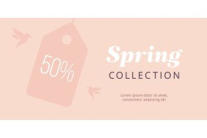 Spring big sale banner with tag and birds. Elegant pure poster. Vector blush backround.