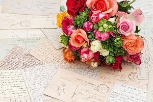 Rose flowers letters postcards