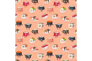 Sushi character vector food seamless pattern