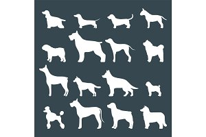 Funny cartoon dog character bread white silhouette in cartoon style vector illustration.