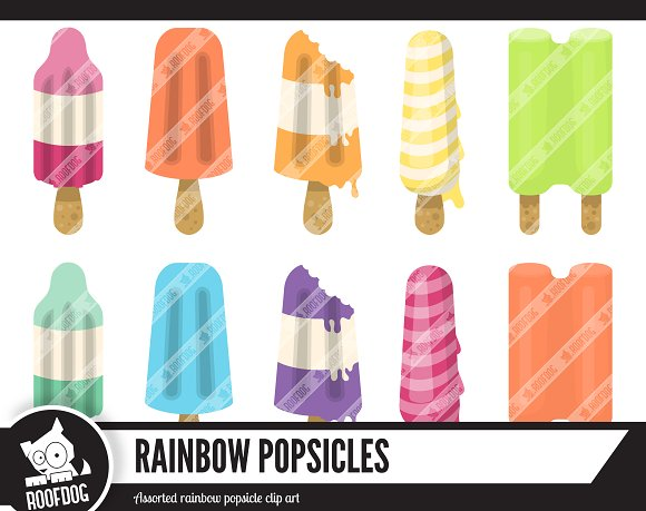 Rainbow Summer Popsicle Clipart