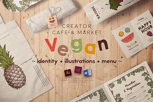 Vegan restaurant identity creator