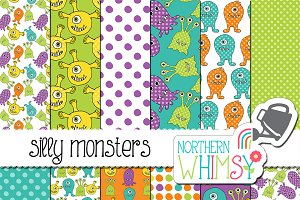 Kids Seamless Patterns - Monsters