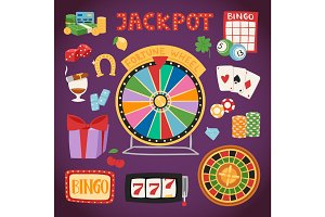 Casino game gambling symbols blackjack cards money winning roulette joker vector illustration