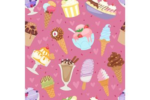 Set of different ice cream seamless pattern background cartoon dessert vector illustration
