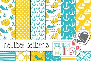 Blue and Yellow Nautical Patterns