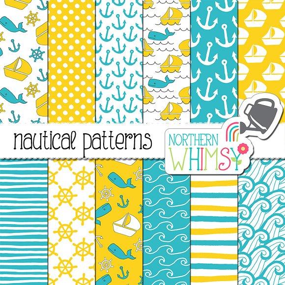 Blue And Yellow Nautical Patterns