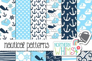 Navy and Aqua Nautical Patterns