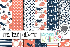 Coral and Navy Nautical Patterns