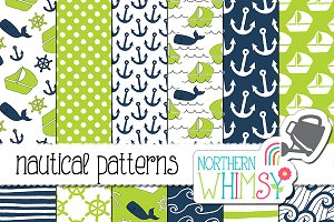 Navy and Lime Nautical Patterns