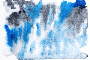 Black blue watercolor abstraction