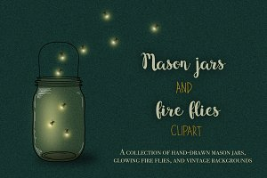Mason jars and fireflies clipart