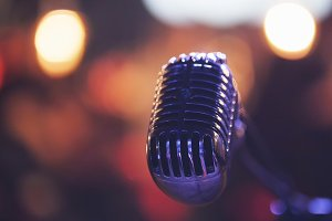 Vocal microphone in night club