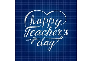 Teacher's day card as handdrawn lettering for your decoration