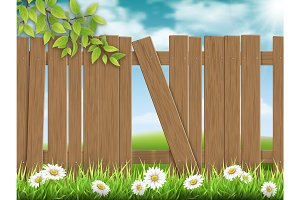 Wooden fence with broken plank.
