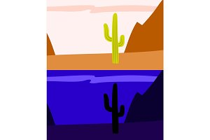 Lonely saguaro cactus in the desert, day and night view, vector