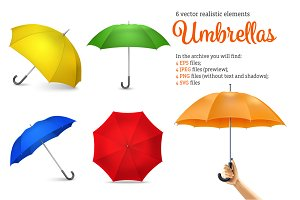 Realistic Umbrella Set