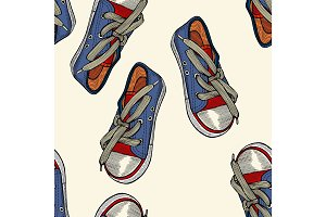 red and blue shoes.