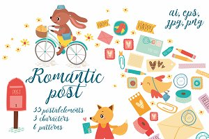Romantic post / Scrapbooking set