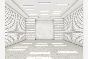White empty room with parquet
