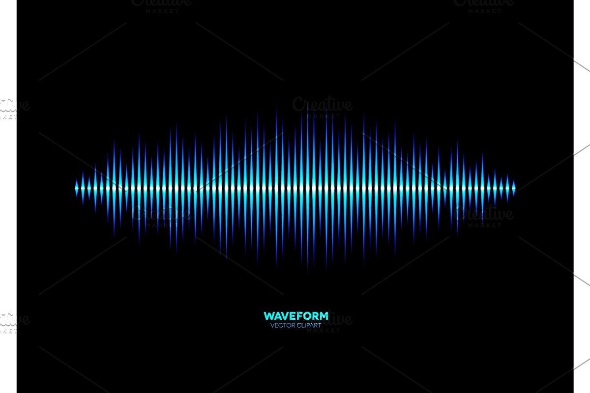 Shiny blue music waveform