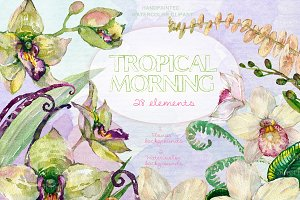 Tropical Morning Floral Clip Art