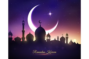 Vector greeting card for Ramadan Kareem holiday