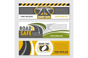 Vector banners of safety road construction company