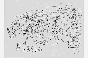 Russia Hand Drawn Doodle Map