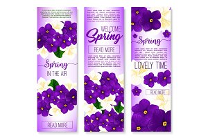 Spring flower welcome banner set design