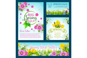 Spring shopping sale vector flowers