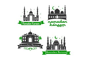 Vector icons for Ramadan Kareem holiday greetings