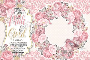 Watercolor PINK and GOLD wreaths