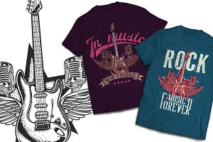 Rockmusic T-shirts And Poster Labels