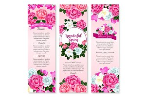 Spring holidays floral greeting banner set