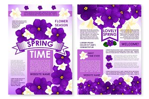 Vector poster of spring time viola flowers bunches