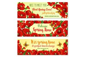 Spring flower frame for springtime banner template
