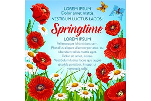 Vector spring flowers poster springtime greetings