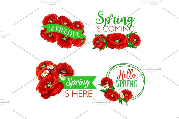 Vector Spring Time Greeting Quotes Flowers Design