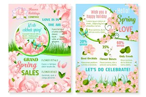 Spring holiday promo sale flowers vector posters